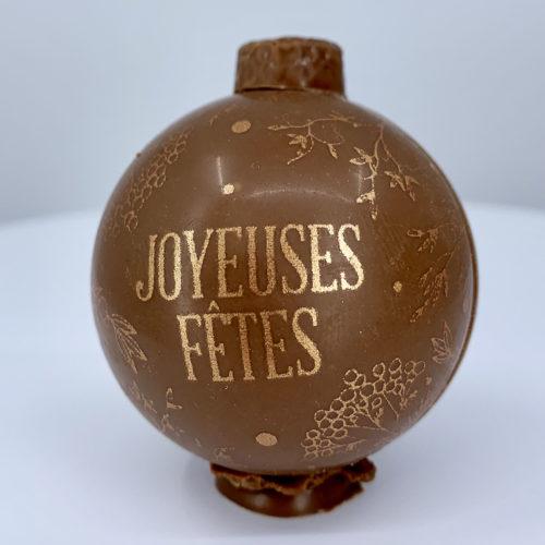 Boule chocolat lait joyeuses fêtes - Pâtisserie Litzler-Vogel